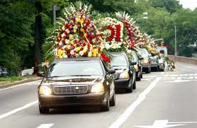 Cars in funeral procession
