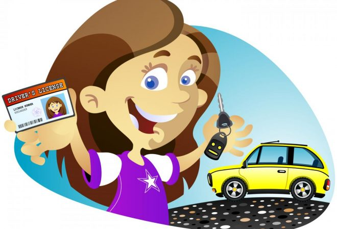 cartoon of girl getting her driver's license