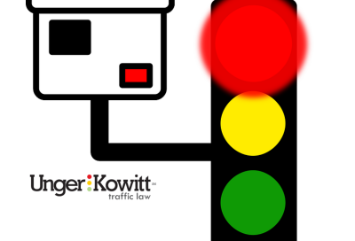 unger & kowitt logo with red light camera cartoon