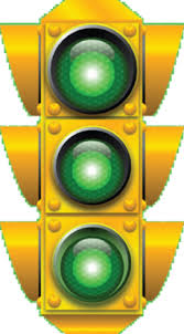 traffic light with three green lights